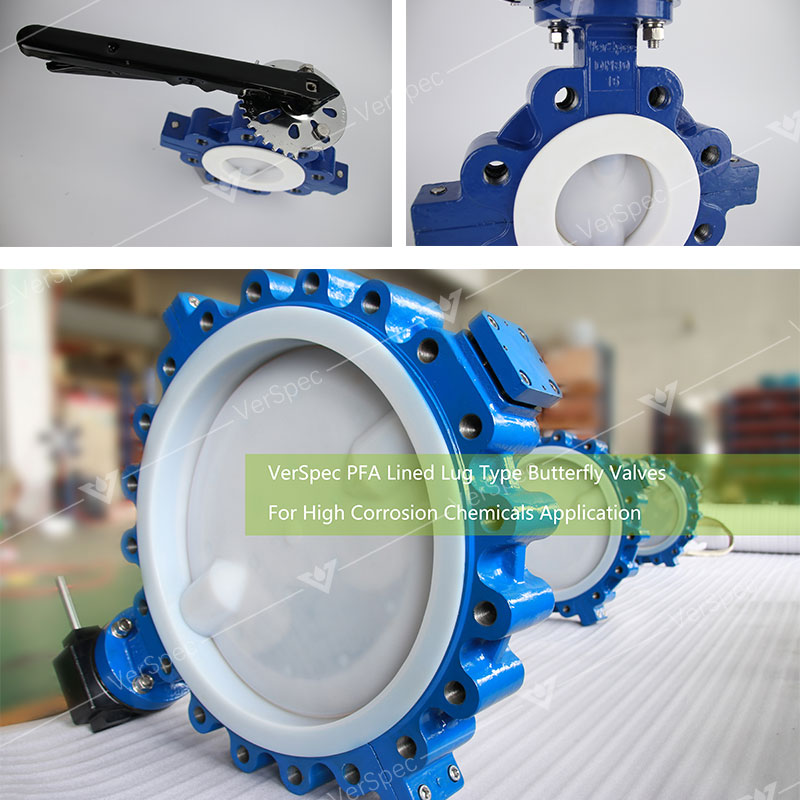 Lug Type PFA lined butterfly valve